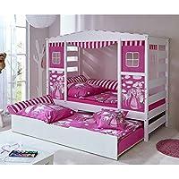 Lieblich Pharao24 Prinzessin Bett Mit Ausziehbett Weiß Rosa