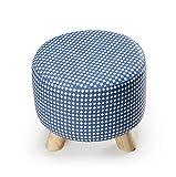 Dreibeiniger kleiner Hocker entfernbarer waschender Änderungs-Schuh-Hocker europäischer Gewebe-Sofa-Schemel tragen Sie Schuhe niedriger Hocker fester hölzerner Sitzen-Pier ( Farbe : E )