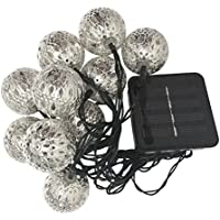 10 LED Globe Marocchino Impermeabile Stringa di Luci ad Energia Solare 10 Luci LED Sfere Argento Luci Stringa per Natale Leggiadramente illumina Ambiance Luci per Giardini, Case, Matrimonio-Bianco