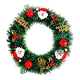 Gusspower Weihnachten Kranz deko, Künstliche Garland für Weihnachtsfeier DIY Dekoration, Fenster Tür Bowknot Ornament für Heim Yard Indoor Outdoor Tischdekoration (35cm, B)
