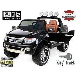 FORD RANGER Wildtrak de lujo, Negro, producto BAJO LICENCIA, con mando a distancia 2.4Ghz Bluetooth, apertura de puertas y capó, os asientos en cuero, Ruedas EVA Suave