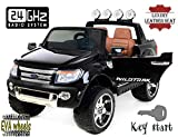 Ford Ranger Wildtrak Luxury Elektrisches Auto für Kinder, 2.4Ghz Fernbedienung, 2 MOTOREN, Zweisitzer in Leder, Weiche EVA Räder, schwarz, MP3 USB SD, Original-Ford-Lizenz