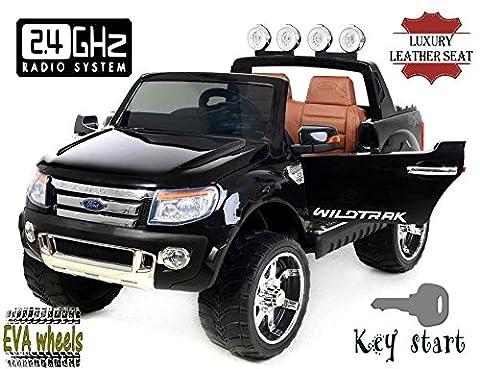 Ford Ranger Wildtrak Luxury Elektrisches Auto für Kinder, 2.4Ghz Fernbedienung, 2 MOTOREN, Zweisitzer in Leder, Weiche EVA Räder, schwarz, MP3 USB SD, Original-Ford-Lizenz