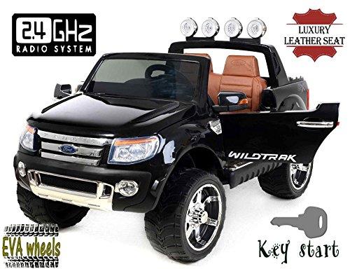 elektrisches kinderfahrzeug RIRICAR Ford Ranger Wildtrak Luxury Elektrisches Auto für Kinder, 2.4Ghz Fernbedienung, 2 MOTOREN, Zweisitzer in Leder, Weiche Eva Räder, schwarz, MP3 USB SD, Original-Ford-Lizenz