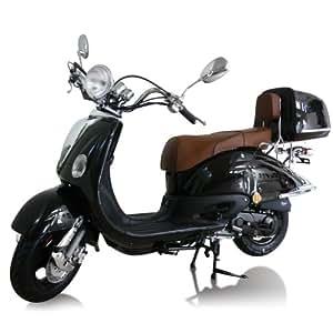 motorroller benzin roller retroroller 50 ccm 45 km h 4 takt moped scooter schwarz auto. Black Bedroom Furniture Sets. Home Design Ideas