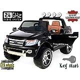 Ford Ranger Wildtrak de luxe Voiture-jouet électrique pour enfant, 2.4Ghz Bluetooth contrôle á distance, DEUX MOTEURS, deux sièges en cuir, Roues EVA douces, noir, licence Ford originale