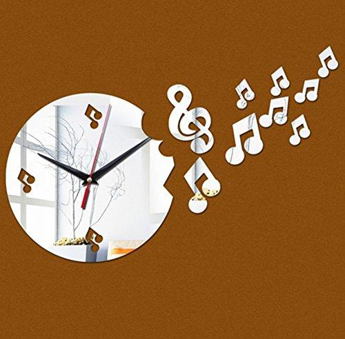 (YIFBHBJ DIY-Wall Clock Dekoration Moderne musikalische Note Aufkleber Batterie für Home Office -Silber)