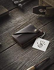 Cartera/tarjetero Minimalista de cuero | Wood Brown, Monedero marrón vintage de primera calidad, Cartera Slim