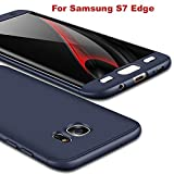 #8: Aeetz® Samsung Galaxy S7 Edge Case, 3in1 Dual Hybrid Double Dip Ultra Slim Knight Series Case For Samsung Galaxy S7 Edge Cover Hybrid PC [HARD] Full Protection Matte Phone Case For S7 Edge (Full Blue)