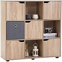 IDIMEX Bibliothèque Vermont Cube de Rangement avec 9 casiers mélaminé décor chêne Sonoma