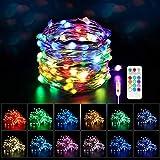 Maxsure Guirlande Lumineuse USB Multicolore 100 LEDs, Fairy Lights 12 Couleurs, Guirlande Lumineuse Exterieure/Interieur avec