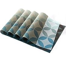 KAMIERFA Juego de 6lavable cobre antideslizante Mesa Decor vinilo de cocina manteles individuales cuadro Mats azul