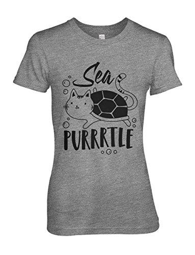 itten Cat Turtle Joke Cool Damen T-Shirt Grau Large ()