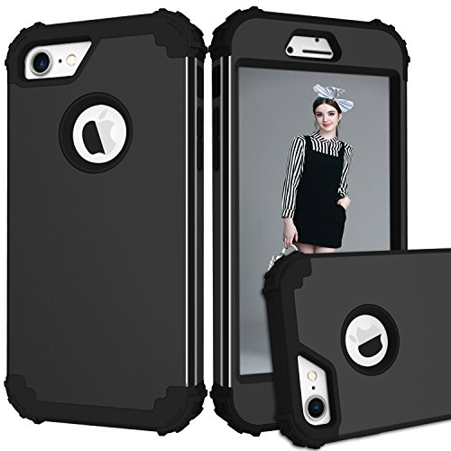 jecce Case für Apple iPhone 7 Fall, stoßfest Dual Layer Rugged Ganzkörper Antirutsch Hybrid High Armor Defender Combo Bezug, Hard PC Hülle 11,9 cm 2017 Für Damen Herren Mädchen Kinder, All/Black (Phones Cell Samsung T-mobile)