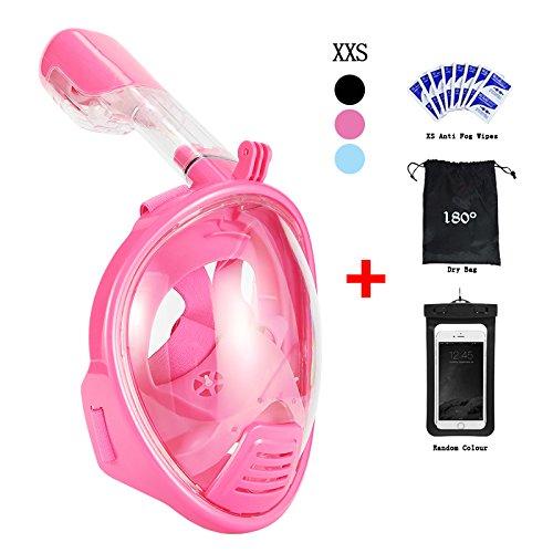 Schnorchelmaske für Erwachsene Und Kinder Vaporcombo Anti Nebel 180 Grad Blickfeld Gopro Kamera Halterung Faltbar Schnorchel Maske Tauchmaske Vollgesichtsmaske Rosa, XS