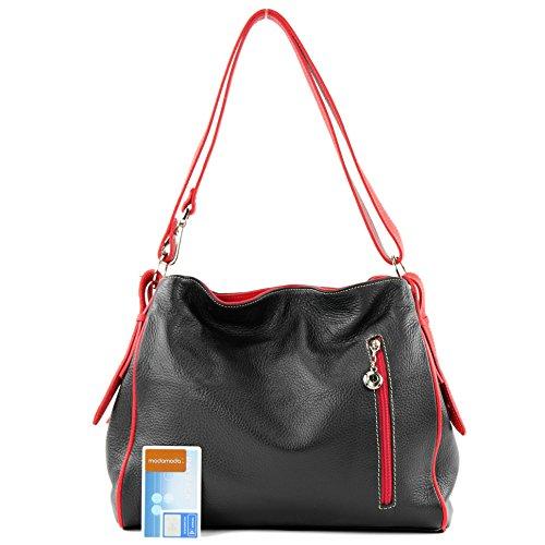 modamoda de - ital. Ledertasche Damentasche Umhängetasche Tasche Schultertasche Leder T119 Schwarz/Rot