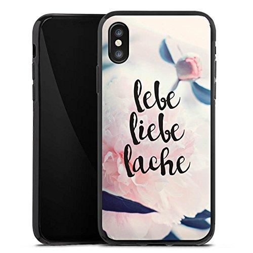 Apple iPhone X Silikon Hülle Case Schutzhülle Love Lebe Liebe Lache Blumen Silikon Case schwarz