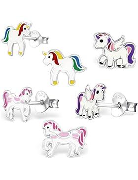GH1a 3 PAAR Ohrstecker Einhorn + Pegasus + Pferd 925 Echt Silber Mädchen Kinder Ohrringe Geschenkidee