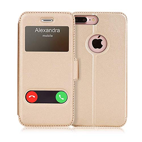 FYY iPhone 8 Plus Hülle, iPhone 7 Plus Hülle,Premium PU Lederhülle Flip Leder Cover Case Tasche Handytasche Shell für iPhone 8 Plus/iPhone 7 Plus,Gold