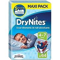 Huggies Drynites 4-7 ans Garçon (17-30kg) - Sous-Vêtements de Nuit Absorbants pour Enfants qui Font Pipi au Lit - x64 Culottes (Lot de 4 Paquets de 16)