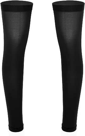 Yeahdor Men's Sissy Lingerie Thigh High Footless Half Leggings Calf Support Socks Stretchy Stockings Pantyhose