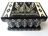 Neu Schwarz schön Hand geschnitzt,Handarbeit Holz Puzzle kasten, geheimer Kasten,Zauber magischer Kasten, Schmuckkasten, Aufbewahrungsbehälter, Blumenentwurfskasten