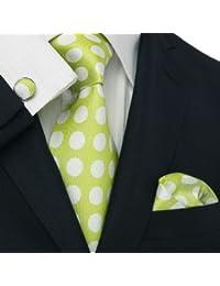 Landisun 31V vert blanc polka dots Homme Soie Ensemble:Cravate Boutons De Manchettes Mouchoir