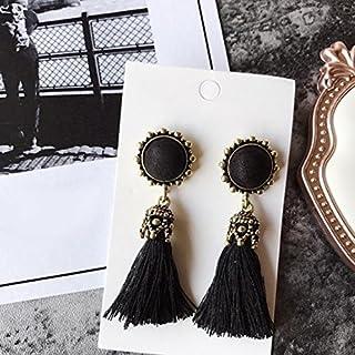 GEZICHTA 1Paar Frauen Damen Vintage rund Quaste Drop Ohrringe Schmuck Zubehör für Hochzeit Party Outdoor -, Schwarz