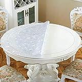 HHXX Nappe en PVC Transparent, Tapis de Table Domestique brûler Contre imperméable Taille Multi Nappe Circulaire sans Huile (Size : 70cm in Diameter)