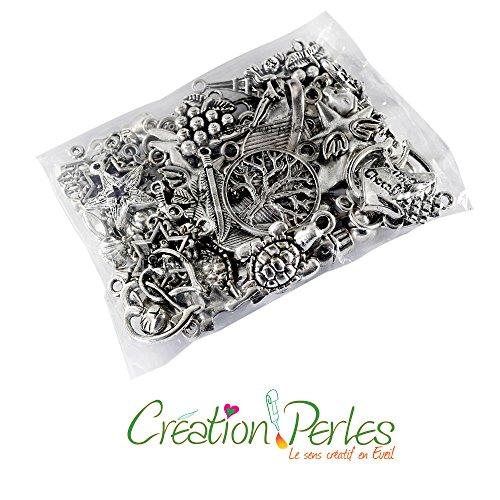 Création-Perles - 60 Charms-Anhänger, gemischt, Größe und Motive zufällig ausgewählt, antikes Silber