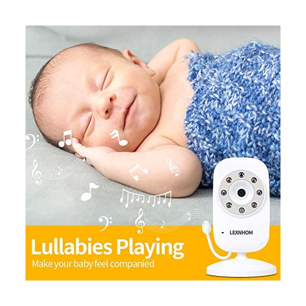 """LEXNHOM Portable Baby Monitor,Wireless Two-Way Talk 3.5 Inch baby monitors with Camera and Eco Mode,Night Vision,Temperature Monitoring , Lullabies (3.5 inch-Gold) LEXNHOM ★ FHSS TECHNOLOGY: New model of baby visual monitor with extra-large 3.5"""" TFT LCD screen and 640*480 pixels,which provides you possibility to watch your baby clearly, greatly increases freedom and flexibility for parents, it would be an ideal choice as a gift for newborn parents. ★ POWER SAVING MODE:When digital camera in silence, baby video monitor LCD display switches to standby state automatically, and turns on when camera detects any sound, changes of volume can also be displayed by the indicator light. ★ INFRARED NIGHT VISION:Video baby monitor's with infrared night vision and night light, protecting baby from glare, helping parents to see baby in darkless night clearly. 5"""