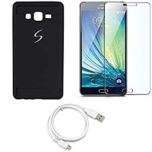 NIROSHA Tempered Glass Screen Guard Cover Case USB Cable for Samsung Galaxy ON7 - Combo