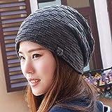Oudan Sombrero de Mujer Ms Cap Neutral Invierno Espesar Punto de Punto Pareja Cap Ciclismo sciarpa Ore Turbante Sombrero (Color : Gris, tamaño : -)