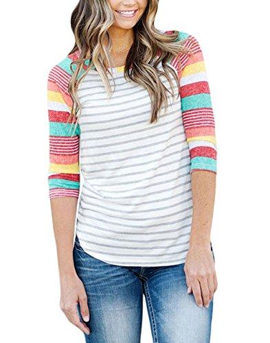 Frauen Casual Blusen Tops Blumendruck 3/4 Ärmel Rundhals T-Shirt Plus Size Rosa