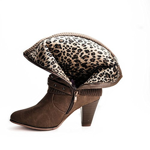 Damen Stiefel Strick Stiefeletten Boots Strickschaft High Heels leicht gefüttert BL62 Braun