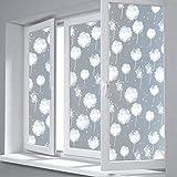 HUOXIAO Milchglasfolie/Fensterfolien,3D Dekorfolie Weißer Löwenzahn Statische Klebstofffreie Umweltfreundliche Klebstofffreie Glasfolie Fensteraufkleber,80X100cm