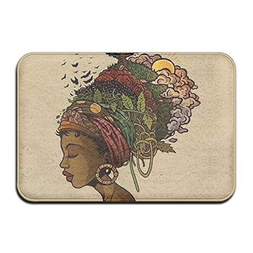 Jiayou J African American Black Women Painting Art Non-Slip Backing Living Room Hallway Bathroom Pet Entrance Garden Office Clean Step Mat Carpet Super Absorbs Mud Door Mat 15.5in X 23.5in
