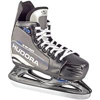 Hudora - Patines de hockey sobre hielo para niños, ajustables, tallas 28 a 39 negro/gris Talla:Gr. 32-35