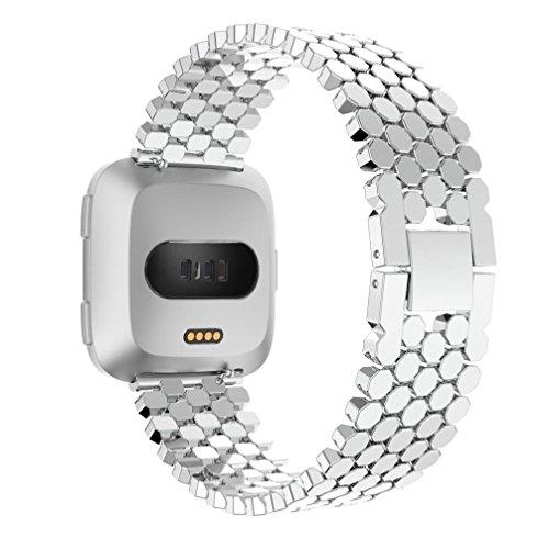 Hunpta@ Mode Sport Metall Armband mit Metallverbindern Compatible für Fitbit Versa(174mm) (Silber)