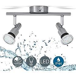 B.K. Licht plafonnier SDB LED 2 spots orientables, IP44, luminaire plafond salle d'eau, 2 ampoules LED 5W GU10 incl., 400Lm par ampoule, blanc chaud 3000K