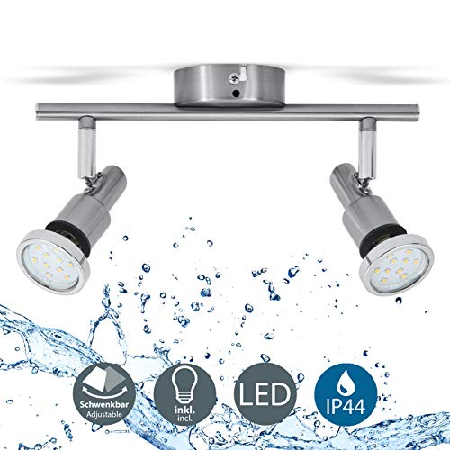 Lámpara de techo para baño IP44 incl. 2x5W LED bombillas orientables GU10...