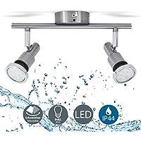 B.K.Licht LED Ceiling Light, Swivel Mounted Bathroom Spotlight Bar, 5W GU10 LED Bulbs incl, Warm White 3000K, Spotlight for Kitchen, Living Room & Bedroom, Spot, Metal, 230 V IP44