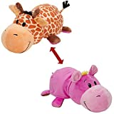 FlipaZoo The 16 Pillow with 2 Sides of Fun for Everyone - Each Huggable FlipaZoo character is Two Wonderful Collectibles in One (Giraffe / Hippo) by FlipaZoo
