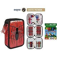 Plumier Estuche Premium de Cremallera Triple 3 Pisos Spiderman Marvel - 43 Piezas Contenido Giotto +
