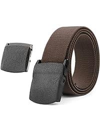 Cinturón elástico para hombre, transpirable, para deportes al aire libre, hebilla de plástico JasGood de 3,8 cm con hebilla de plástico sin níquel