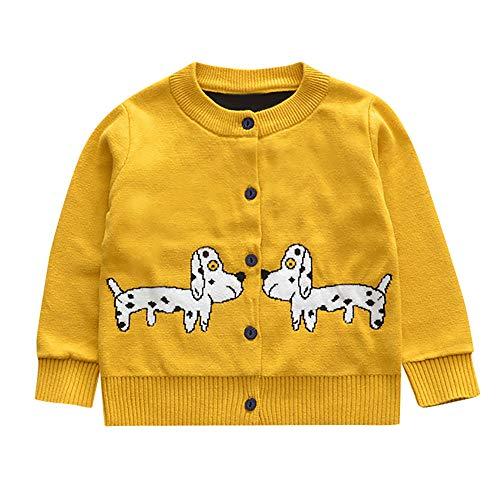 Kobay Kleinkind Baby Jungen Mädchen Langarm Kleine Hundedruck Pullover Strickjacke(6-12M,Gelb)