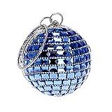 Flada Frauen Abend Handtasche Glitter Diamante Clutch Bag Handtasche Schultertasche Sphärische für Braut Hochzeit Blau