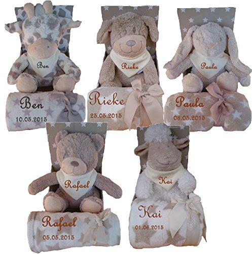 Baby Kinder Set 3 teilig Babydecke mit Namen bestickt Teddy Halstuch Taufe Geburt