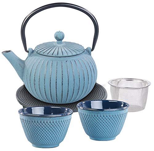 Teeservice: Asiatische Teekanne, Untersetzer und 2 Becher aus Gusseisen, blau (Teeservice Gusseisen) ()