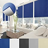 Verdunkelungsrollo - lichtundurchlässig, thermobeschichtet - Klemmfix, auch ohne Bohren anbringbar - Rollo zur Verdunkelung in vielen Größen und Farben | Marineblau | 55x150cm